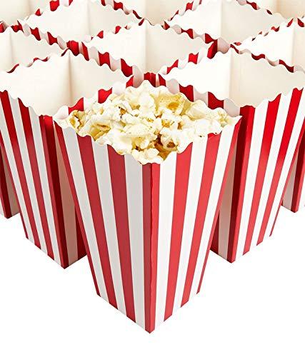 SiMin 24 PCS Scatole di Popcorn,Contenitori di Popcorn Contenitori di Caramelle per Spuntini del Partito Sorpresa Modello di Banda Decorativi per Il Partito per i Favori del Partito di Film(Rosso)