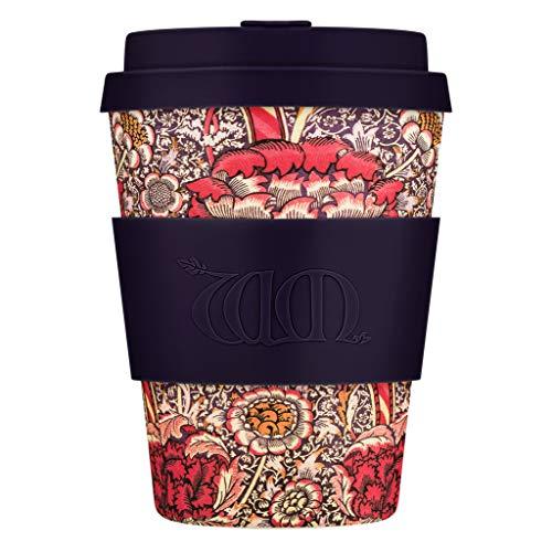 TOBOS Kaffeebecher + William Morris Wandle mit dunkelviolettem Silikon, 340 ml, wiederverwendbar und umweltfreundlich, zum Mitnehmen