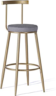 JHBW-bar stool Metal Iron Frame, Gray Linen Seat, Seat Height 65cm (26in), Modern Creative High Stool, Suitable for Bars, Hotels, Cafes, Home (Bearing 440LBS)