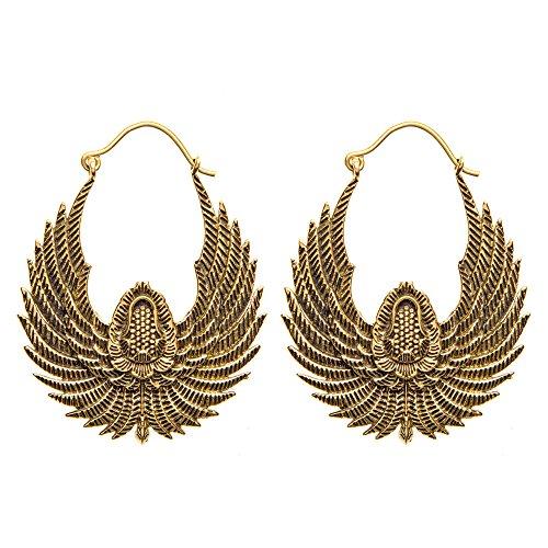 81stgeneration Frauen Messing Goldton Egyptian Vogel Flügel Stammes Ethnisch Ohrringe baumeln
