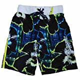 Boys Black Tropical Hawaiian Plaid Swim Trunks Board Shorts 8