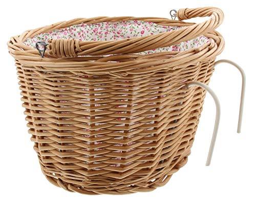 Dekoleidenschaft Fahrradkorb vorne aus Weide, abnehmbar, Textileinsatz mit fröhlichen bunten Blümchen, Lenkerkorb mit Bügel, Einkaufskorb