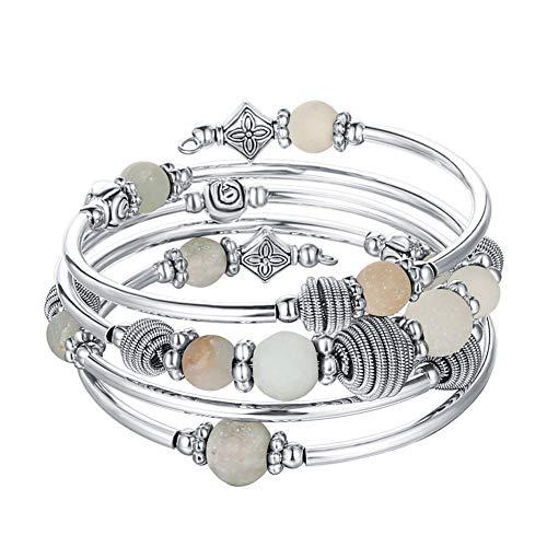 Silber Wickelarmband mit Naturstein Perlen Boho Mehrschichtiges Damen Armbänder Geburtstags Modegeschenk für Frauen(Green)