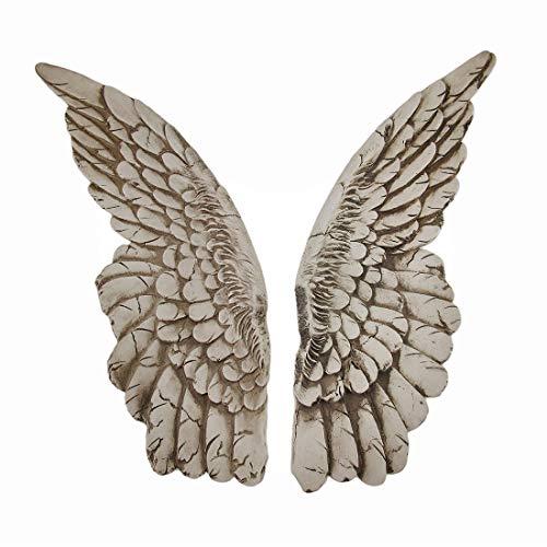 Esculturas de pared resina alas de protección par de acabado envejecido alas de ángel colgante 3,5x 11x 1,5cm blanco modelo # a41049