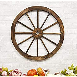 Ebros Gift Oversized 24.5 Wide Vintage Rustic Round Wood Cartwheel Wagon Wheel Wall Decor 3D Art Decorative Hanging Plaque Western Country Ranch Old World Transportation Mode Home Accent Sculpture