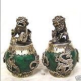 EASTCODE 1 Pair Handwork Tibet Silver Green Jade Carving Figures Dragon Phoenix Lion Foo Dog Statue Tibetan Silver Bronze Decoration