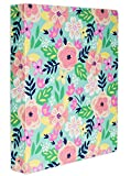 Steel Mill & Co Cute Decorative Hardcover 3 Ring Binder for Letter Size Paper, 1 Inch Round Rings, Floral Binder Organizer for School/Office, Mint Floral