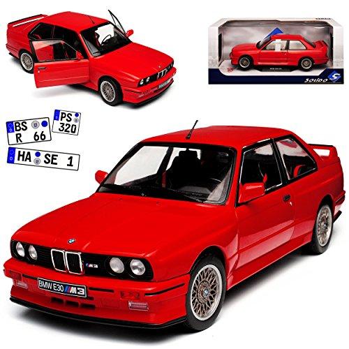 B-M-W 3er E30 M3 Coupe Sport Evolution Rot 1982-1994 1/18 Solido Modell Auto mit individiuellem Wunschkennzeichen