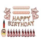 Dafang Decoración de Fiesta Fiesta de cumpleaños Set 16 Pulgadas Dorado Feliz cumpleaños Banner Bomba de Cinta de 12 Pulgadas
