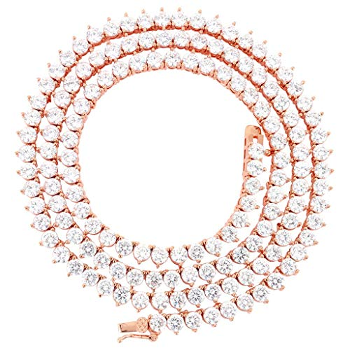 Bling Bling NY Unisex 1 Row Tennis Necklace Choker Chain Lab Created Diamonds 4MM 3 Prong Stone One Row Tennis Solitaires Multi Color 18-24 inches (Clear/Rose Gold, 18.00)