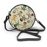 Bolsos de hombro Bolsos redondos para mujer Depositphotos_21683695-stock-illustration-pirate-skulls-with-cross-espadas Crossbody Leather Circle Bag