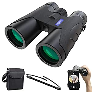 Binoculars High Power, 12x40 Compact Binoculars with BAK4 Prism, FMC Lens, Fogproof & Waterproof Vision Clear for Adults Bird Watching Traveling Sightseeing with Phone Clip