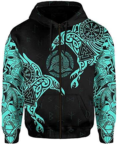 DFWY 3D gedruckt Nordic Viking Yggdrasil und Ravens Tattoo Trainingsanzug Hoodie, Unisex Langarm Streetwear Casual Hooded Pullover Sweatshirt (Color : Light Blue Zipper, Size : XXXXX-Large)