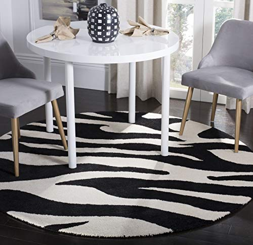 Safavieh Soho Collection SOH717A Handmade Premium Wool Area Rug, 8' x 8' Round, White / Black