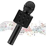 Microfono per bambini, microfono karaoke per cantare, microfono Bluetooth senza fili con altoparlante, macchina per karaoke per bambini con microfono portatile (black)