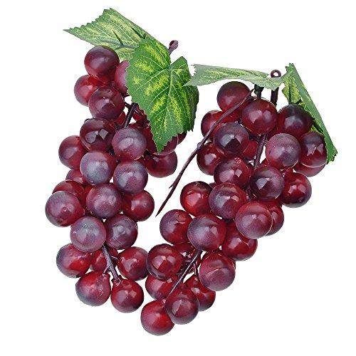 zhangming 2pc Deko Kunststoff Weintrauben Wein Trauben Kunstobst Plastikobst künstliches Obst Gemüse Dekoration 2 mal 17cm (Lila)