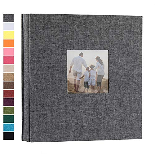 potricher Linen Hardcover Photo Album 4x6 600 Photos Large Capacity for Family Wedding Anniversary Baby Vacation (Gray, 600 Pockets)