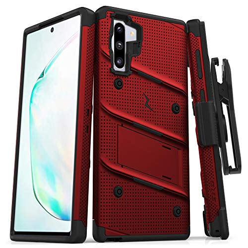 ZIZO Bolt Series for Samsung Galaxy Note 10 Case | Heavy-Duty Military-Grade Drop Protection w/Kickstand Included Belt Clip Holster Lanyard (Red/Black)