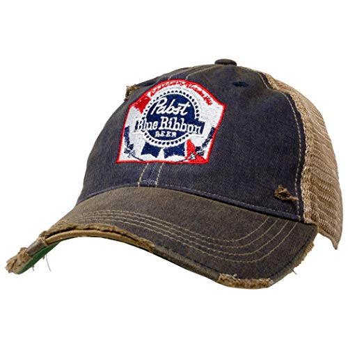 Pabst Blue Ribbon Retro Brand Distressed PBR Trucker Hat Brown