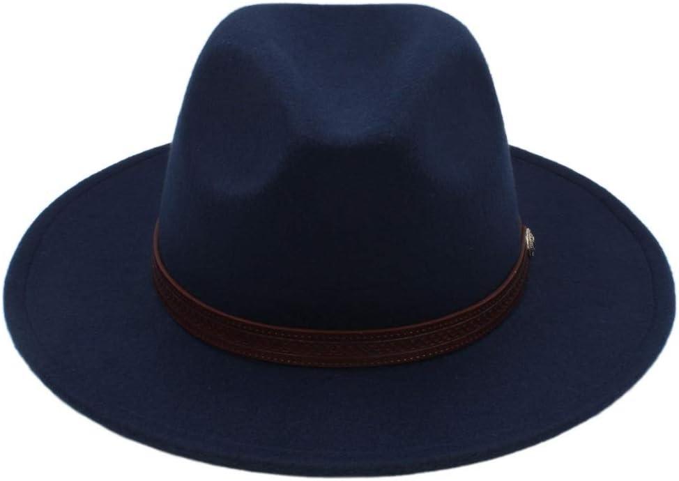 LHZUS Hats Winter Wool Fedora Hat with Fashion Belt for Men Panama Hat Wide Brim Church Fascinator Hat Travel Hat Size 56-58CM (Color : Dark Blue, Size : 56-58)