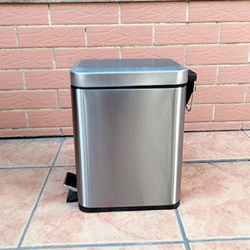 LBYMYB Cubo de basura de acero inoxidable para el hogar, 5 litros de pedal rectangular con tapa, contenedor de almacenamiento diario, adecuado para cocina, dormitorio, oficina, baño basura