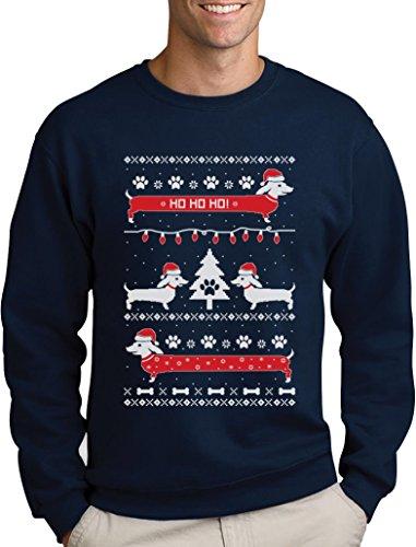 Green Turtle T-Shirts Herren Weihnachtspullover Hundeliebhaber Dackel Sweatshirt XX-Large Marineblau