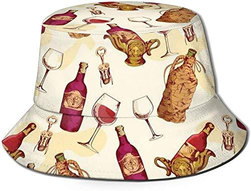 MODORSAN Sombrero de Cubo con Estampado de Vino Tinto, Gorra de Pesca para Pescador, para Mujer, Viaje, Color Negro, Talla única