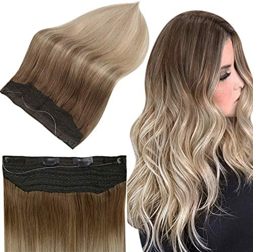 Full Shine Secret Hidden Crown Extensions Human Hair 20 Inch Seamless Halo Hair Extensions Balayage product image