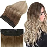 Full Shine Secret Hidden Crown Extensions Human Hair 20 Inch Seamless Halo Hair Extensions Balayage 10 Golden Brown Fading To 14 Golden Blonde Invisible Fish Wire 80 Grams