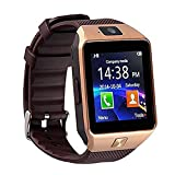 Qiufeng DZ09 Smart Watch Smartwatch Bluetooth Touchscreen Sweatproof Phone with Camera TF/SIM Card Slot for Android and iPhone Smartphones for Kids Girls Boys Men Women(Gold)