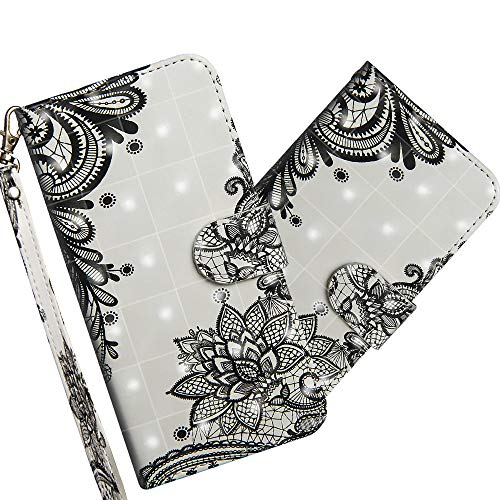 COTDINFOR Nokia 2.2 Hülle 3D-Effekt Painted cool Schutzhülle Flip Bookcase Handy Tasche Schale mit Magnet Standfunktion Etui für Nokia 2.2(2019) Diagonal Black Flowers YX.