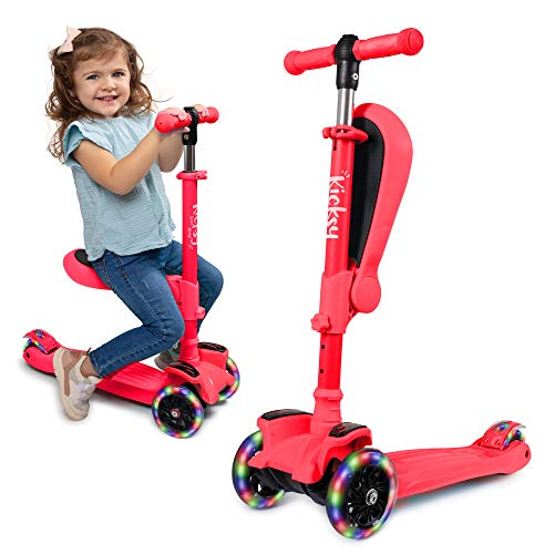KicksyWheels Scooters for Kids  3 Wheel Toddler Scooter for Boys amp Girls  Toddlers and Kids Toys for 1 Year Old and Up  Three Heights amp Light Up Wheels Peach Pout with Seat