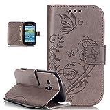 Galaxy S3MINI caso, Galaxy S3MINI Cubierta, ikasus repujado de flores mariposas piel sintética plegable tipo cartera, funda de piel tipo cartera con función atril tarjeta de Crédito ID soportes–Ca