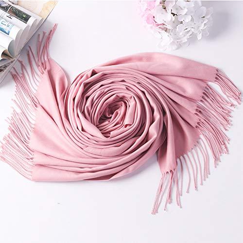 RRQS sjaal voor herfst en winter, eenkleurig, van kasjmier, warm, sjaalkraag, voor vrije tijd, reizen, dubbel gebruik, warm