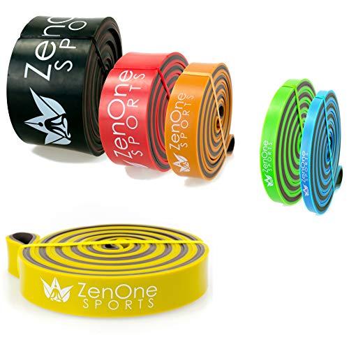 ZenBands Power Resistance Bands, Fitnessbänder in 6 versch. Stärken, Einzelwiderstandsband für Training Zuhause, Klimmzugband, inkl. E-Book & Workout-Guide (Medium)