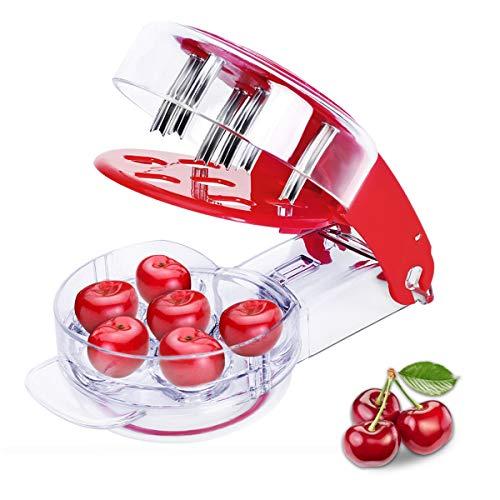 YXGOOD Cherry Pitter Tool Cherry Stone Remover  6 Cherries Red