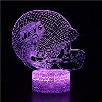 3Dイリュージョンナイトライト アメリカンフットボールヘルメット 溶岩亀裂ベース キッズおもちゃナイトライト3Dオプティカルイリュージョンナイトランプスマートタッチ+7色変更調光可能、誕生日プレゼント男の子クリスマス女の子