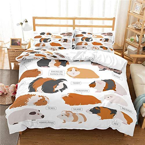 QDoodePoyer Bettwäsche-Set 260x220cm 80x80cm Einfach süß Tier RatteBettwäsche für Teenager & Jugend · 2 teilig · Wendemotiv · 2 Kissenbezug 80x80 + 1 Bettbezug 260x220cm