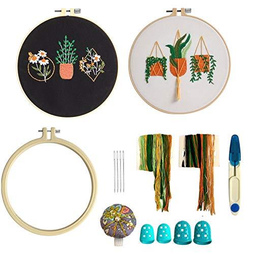 Kit de iniciación de bordado con patrón e instrucciones, 2 juegos de paños de bordado estampados con flores de plantas, hilos de colores, aro de plástico para bordado y herramientas de costura