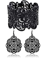 Amupper Metal Lace Bracelet and Earrings Set Bohemian Filigree Cuff Bangle Antique Jewelry for Womens Ladies (Black)