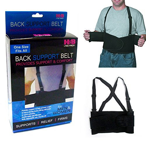 1 Back Support Brace Work Belt Adjustable Waist Lumbar Heavy Lift Suspenders New