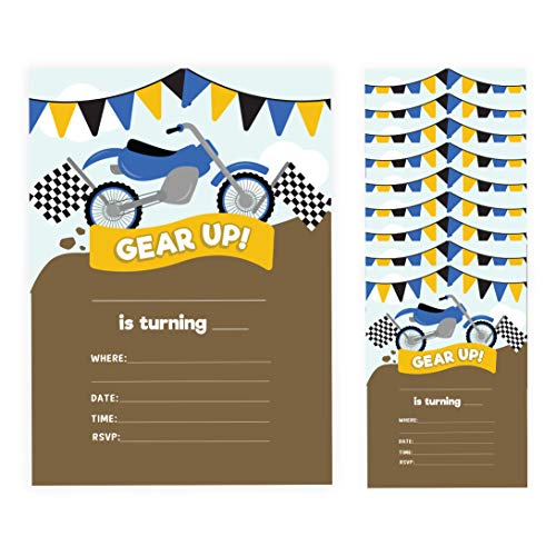 Motorcycle Style 2 Happy Birthday Invitations Invite Cards (10 Count) With Envelopes Boys Girls Kids Party (10ct)