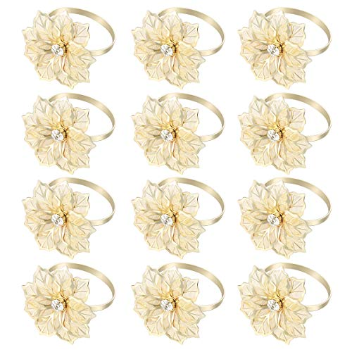 YeahiBaby 12pcs Exquisite High-end Hotel Restaurant Dedicated Flower Design Napkin Ring Mouth Cloth Napkin Ring (Golden)