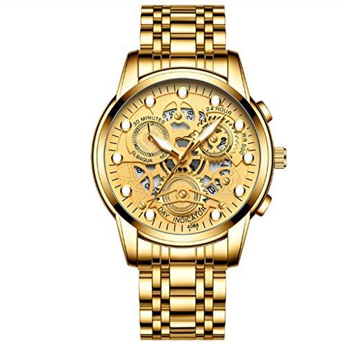 Relojes Hombre, Reloj Cronografo Elegante, Oro Acero Inoxidable Luminosos Impermeable De Diseño Relojes Grandes De Pulsera Deportivos Analogicos Fecha,A