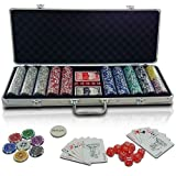 Jago 500 pcs Poker Chips Set with 2 Playing Card Decks, Dealer Button, Several Dice and Lockable Aluminium Case