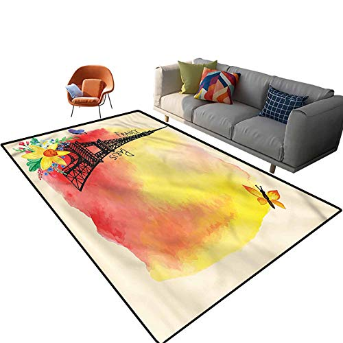 Indoor Room Paris Area Rugs,4'x 6',Romantic Floral Eiffel Floor Rectangle Rug with Non Slip Backing for Entryway Living Room Bedroom Kids Nursery Sofa Home Decor