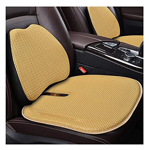Cojín de asiento delantero del coche universal de cuatro temporadas, con soporte lumbar de respaldo Almohada alivia la fatiga, accesorios para automóviles para camiones ( Color : Yellow , Size : B )