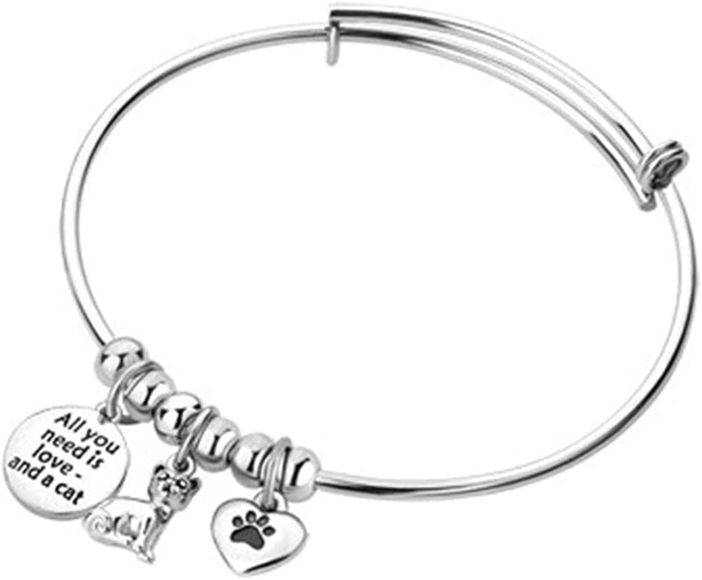 Jesse Ortega Animal Charms Inspirational Letter All You Need is Love Expendable Bangle Bracelets Stainless Steel Pet Paw Prints Jewelry