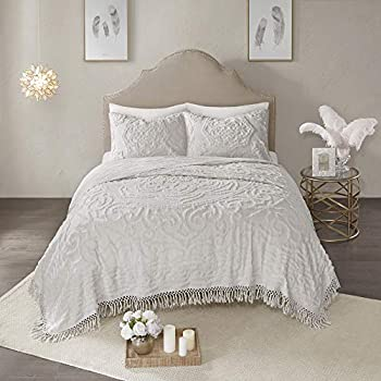 Madison Park Laetitia Chenille Tufted 100% Cotton Quilt Shabby Chic Cozy All Season Bedspread Bed Set with Matching Shams Full/Queen 90 x90   Floral Grey