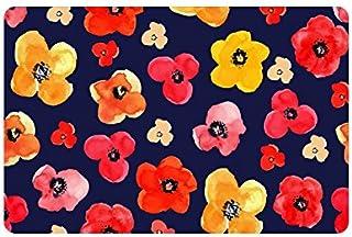 InterestPrint Floral Red and Yellow Isolated Poppies Art Doormat Non Slip Indoor/Outdoor Doormat Floor Mat Home Decor, Ent...
